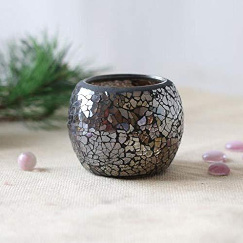 Bazzano Wedding Party Mosaic Amber Glass Candle Holder Tea Light Candelabra Bowl #6