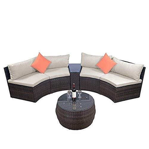 ALI VIRGO Sofa Patio Sets, Outdoor Half-Moon Sectional Furniture Wicker Sof, Black (Half Moon Patio Furniture)