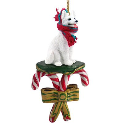 GERMAN SHEPHERD Dog White CANDY CANE Christmas Ornament DCC08C by Eyedeal Figurines
