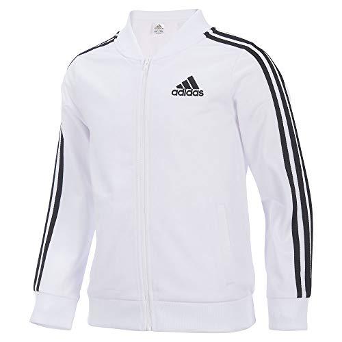 adidas Girls' Big Tricot Bomber Track Jacket, White, X-Large