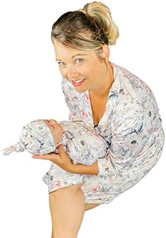 ママローブ、お揃いのベビーおくるみブランケットとリボン付き Large (Pre-pregnancy 10-18) babyswaddle00