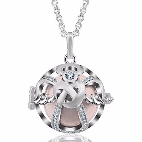 Eudora Harmony Pregnancy Necklace 18Mm Guardian Angel Lava Stone Cage  Pendant Christmas Gift 35  Chain Peach