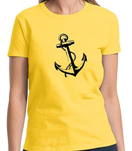 Nautical Sea Boat Anchor symbol Women's Tshirt Short Sleeve Allure & Grace (Small, Daisy Yellow) (Great Gatsby Daisy Dress)