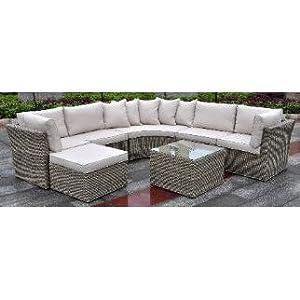 Oakland Living 93018-7-17CSBG-BG Borneo Modular All Weather Resin Wicker Circular Sectional Zipper Cushioned 7 Piece Deep Seat Sofa - Beige