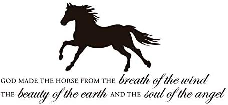 Horse Vinyl Wall Decal God Made The Horse with Silhouette Image Home Decor for Living Room, Tack Room, or Barn