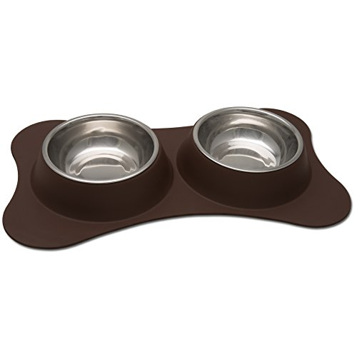 Loving Pets Bone Shaped Flex Diner for Dogs, Small, Chocolate