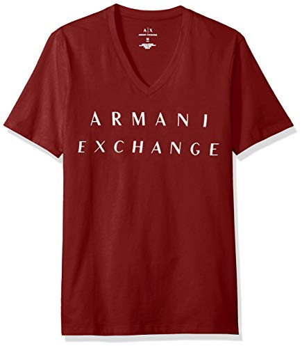 A|X Armani Exchange Men's Basic Logo V Neck Tee, Biking RED, M