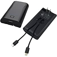 Vince - Portable Powerbank 5200mAh - All in one built-in Apple Lightning and micro USB cables with AC adapter and foldable wall plug (ETL Certified)