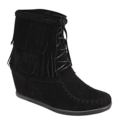 Wedge Women's Ankle 9 Two Fashion Layered Tassel Bootie Lace Moccasin Black up US rBqr8
