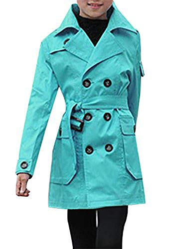 Blue Coat Trench - JiaYou Kid Child Girls' Double Breasted Trench Coat Outwear with Belt(Blue,10)