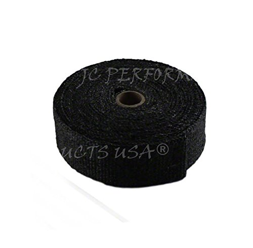 Tratado de vermiculita JC Perfomance Fibra de vidrio Wrap - Único rollo de 1,5 pulgadas - grafito negro cabecera Wrap, mezcla de tubo de escape, ...