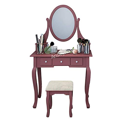 huisenus Simple Modern Vanity Set with Mirror & Cushioned Stool Dressing Table Vanity Makeup Table Desk with Drawers Movable Organizers (Cherry: 5 Drawer & 1 Mirror)