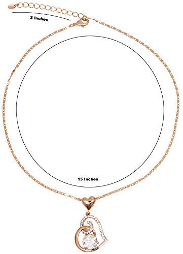 Cœur 18K plaqué or rose Collier Pendentif