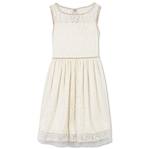 Speechless Girls' Big' Her Her Favorite Dress with Illusion Neckline, Ivory/Gold, 14]()