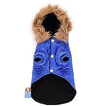 Awtang Pet Dogs Coat Dog Winter Jacket Warm Waterproof Puppy Hoody Clothes Windbreaker Dog Blanket Coat Blue M