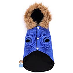 TAONMEISU Dog Windbreaker Waterpoof Windproof Pet Cold Weather Coats Dog Winter Hooded Coats for Small Medium Size Dogs Blue XS