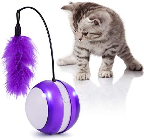 Smart Cat Toys Interactive, Automatic Cat Toy Ball Interactive Cat Toys for Indoor Cats, Best Electronic Feather Cat Toys Ball with Light for Cats, Cats Exercise/Companion Toy Ball by Tiitc 2