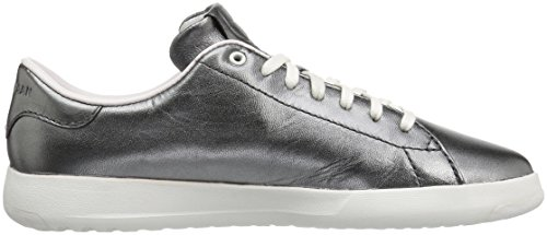 Cole Tennis Metallic Sneaker Ox black Grandpro Gunmetal Women's Haan Lace Leather Fashion rtqfrwR