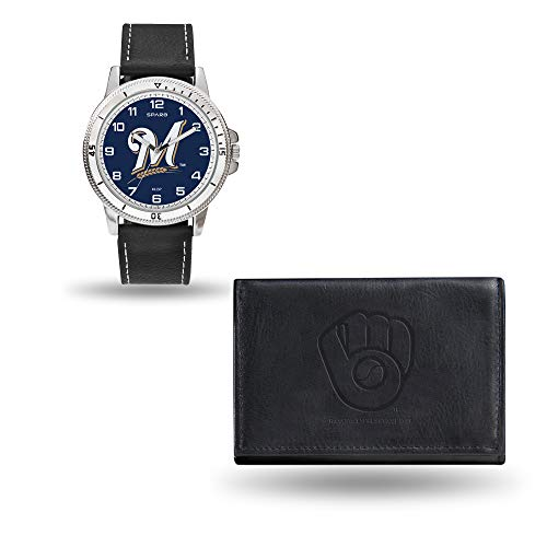 MLB Milwaukee Brewers Men's Watch and Wallet Set, Black, 7.5 x 4.25 x 2.75-Inch ()