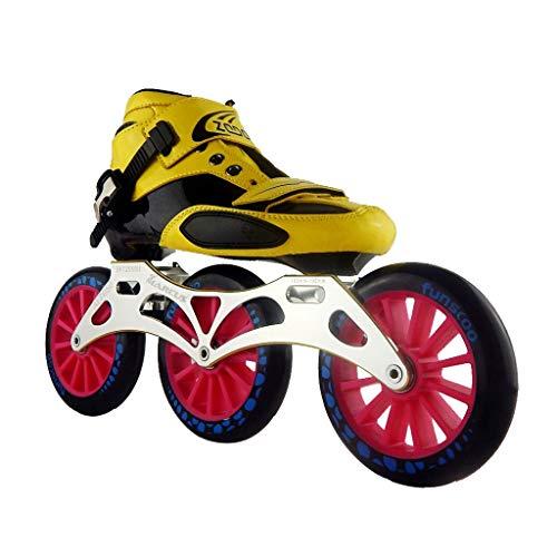 ほかに撤退レビュアーailj スピードスケートシューズ3 * 125MM調整可能なインラインスケート、ストレートスケートシューズ(5色) (色 : 黒, サイズ さいず : EU 42/US 9/UK 8/JP 26cm)