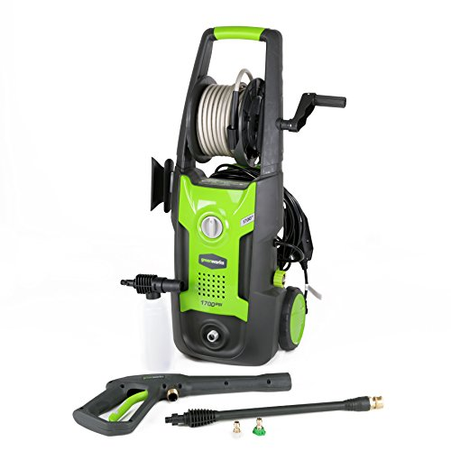 Greenworks 1700 PSI 13 Amp 1.2 GPM Pressure Washer with Hose Reel GPW1702 (Mower Reel Power)