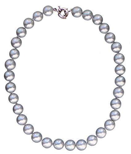 Pearl Necklace Multi Freshwater (12mm Round South Sea Shell Pearl Light Gray Necklace 20