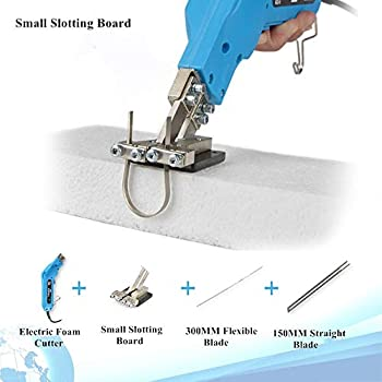 Image of Art Knives & Blades 110V Hand Held Electric Foam Hot Cutter Knife Grooving Carving Knife Sculpture Styrofoam Sponge Cutting with Blades & Accessories (with Small Slotting Board)