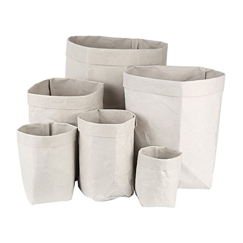 (Muhan Reusable Eco friendly Washable Decorative kraft Paper Bag Storage Container Unique flowerpot)