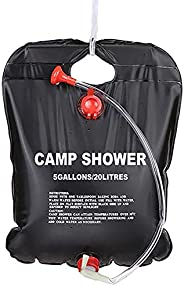 Shower Bag Outdoor 5Gallons/20L Portable Camping Shower Bag with On/Off Switchable Shower Head and Removable H