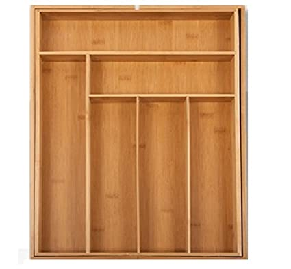 Nueva cocina de bambú extensible tamaño grande bandeja de cubertería caja de almacenaje cajón organizador extensible