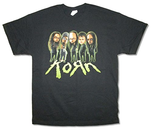 Korn Caricature Cartoon Band Image Black T Shirt (L) (Korn T-shirts Printed)