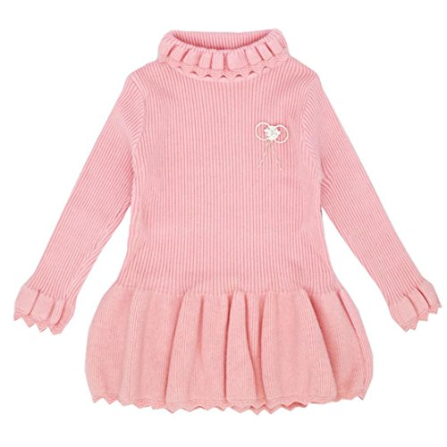 Sunbona Toddler Baby Girls Cute Knitted Sweater Outerwear Autumn Winter Warm Crochet Dress Thick Coat Clothes (5T(3~4Years), Pink) ()