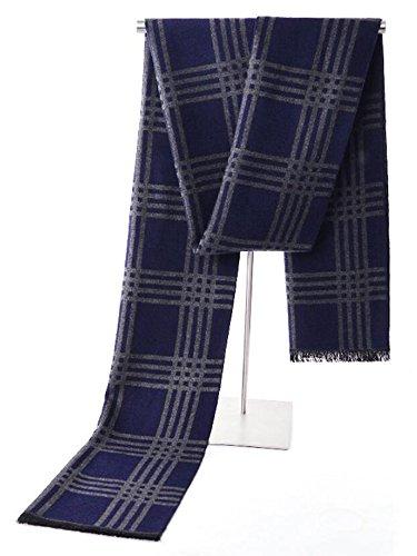 - Cashmere Breathable Warm Fashion Autumn Winter Men's Scarves 17 Colors (Blue and gray stripes)
