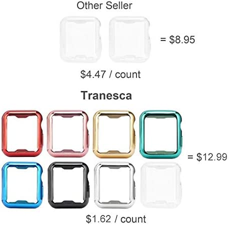 Tranesca 8 Pack 42mm Apple Watch case with Built-in HD Clear Ultra-Thin TPU Screen Protector Cover Compatible with Apple Watch Series 2 and Series 3 (Clear+Black+Gold+Rose Gold+Red+Blue+Green+Silver)