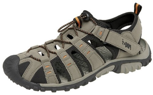 Men Boys Trail Hiking Sandals. Closed Toe, Elasticated Toggle Fastening, Lightweight Ventilated Shoes. Taupe/Orange
