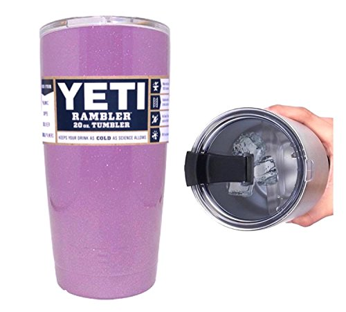 YETI Coolers 20 Ounce (20oz) (20 oz) Custom Rambler Tumbler Cup Mug with Exclusive Spill Resistant Spill Proof Lid (Lavender Sparkle)