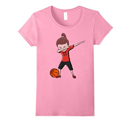 Womens Basketball Dabbing Girl Funny Dab Dance T-shirt for Girls Small Pink