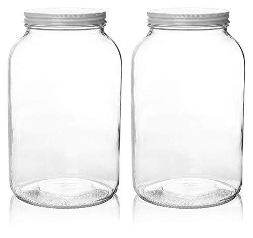 Mason Jar Ounces (2 Pack - 1 Gallon Glass Mason Jar Wide Mouth with Airtight Metal Lid - Safe for Fermenting Kombucha Kefir - Pickling, Storing and Canning- BPA-Free Dishwasher Safe- By)