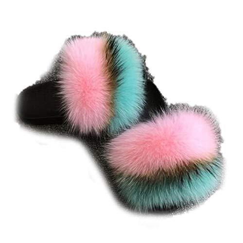 Winter Plush Slippers Indoor Furry Home Shoes Warm Fox Fur Women Slides Flip Flops Fluffy Sandals Blue Pink 8 (Best Massage In Riyadh)