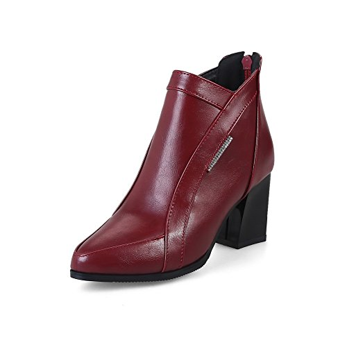 Womens Urethane Solid Kitten Claret Boots Dress Warm Toe Zip Cuff Leather Smooth Heels Boots Ankle Closed Suede Lining Road 1TO9 MNS02534 Tqdz4T