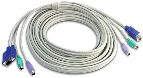 TRENDnet PS2 VGA Combo KVM Male to Male Cable, 15 Feet, Connect with TRENDnet KVM Switches, Keyboard & Mouse: PS/2 type 6-pin mini Din. Monitor: 15-pin HDDB type,  TK-C15