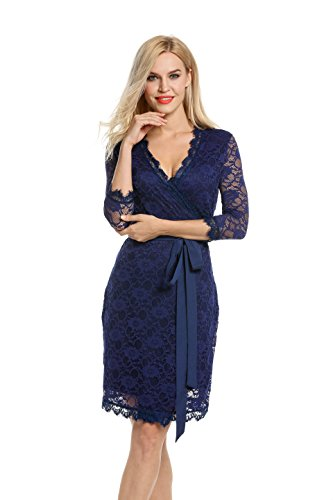 ANGVNS Women's V Neck 3/5 Sleeve Wrap-Front Lace Cocktail Midi Dress with Belt (Royal Blue, XL)