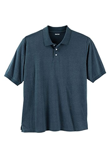 KingSize Men's Big & Tall shrink-Less Polo, Heather Midnight Teal (Big Tall Mens Clothing)