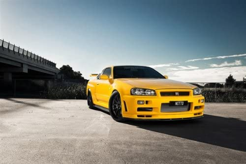 amazon com nissan gtr r34 gt r skyline trabajo ruedas color amarillo hd poster super coche impresion delantera derecha home kitchen amazon com nissan gtr r34 gt r skyline