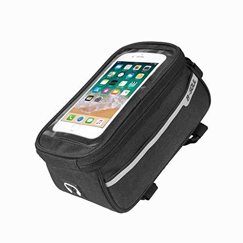 - Bike Saddle Bag Waterproof Bike Travel Panniers Bag with Touch Screen Top Tube Phone Bag for Bike Accesorios (black)