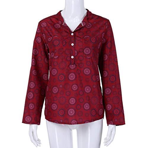 5XL Shirt Maniche Donna Lunghe Scollo Taglie A Casual T Camicie S F Forti Top Stampa Camicetta Mambain Maglietta V FwqaWO5F