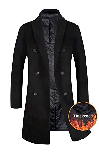 Blend Suit Jacket - ELETOP Men's Trench Coat Wool Blend French Long Jacket Thicken Business Top Coat Double Breasted 1802 Black L