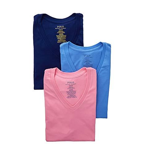 - Polo Ralph Lauren Classic Fit 100% Cotton V-Neck T-Shirts - 3 Pack (RCVNS3) M/Harbor Blue/Pink/Royal