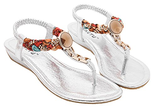 EOZY Damen Sandalen Schuhe Roman T-Strap Sandalen Thong Strand Flip Flop Silber