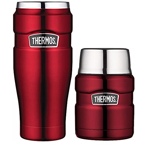 Thermos Stainless King Vacuum Insulated 16oz Travel Tumbler and 24oz Food Jar Bundle - Cranberry (Stainless King Ounce Food Jar)